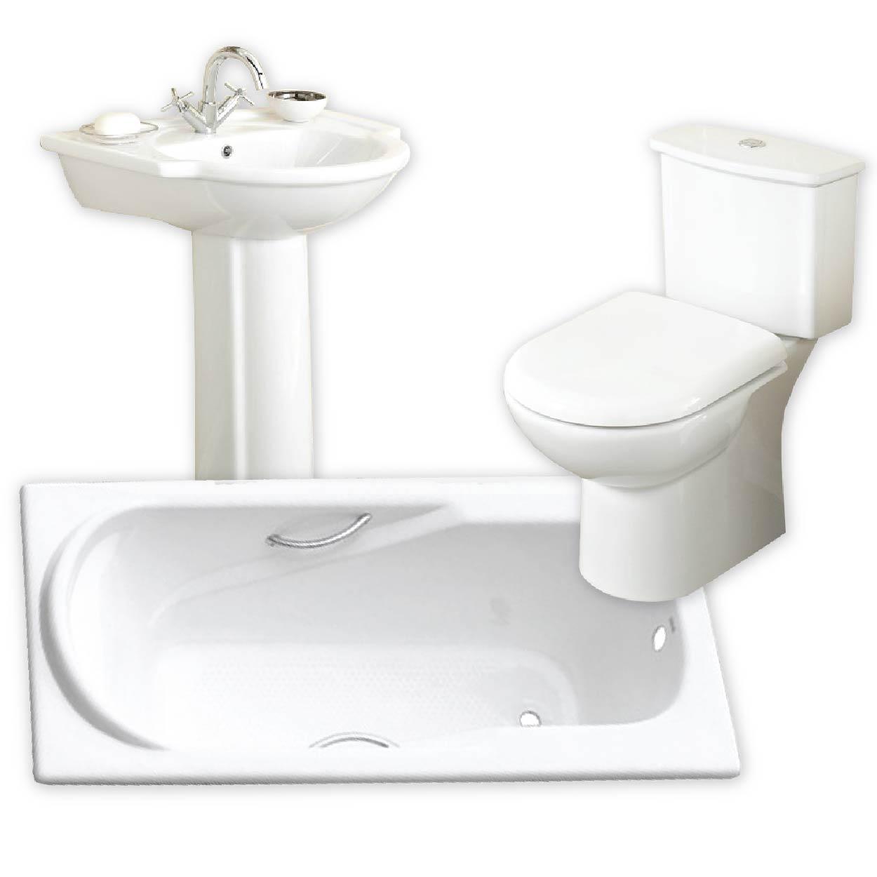 White Bathroom Set - 7PC White Bathroom set. Incl. Pan cistern basin  pedastal